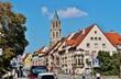canvas print picture - Rottweil, Hochbrücktorstraße mit Kapellenturm