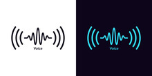 Sound Wave Icon For Voice Recognition In Virtual Assistant, Speech Signal. Abstract Audio Wave, Voice Command Control