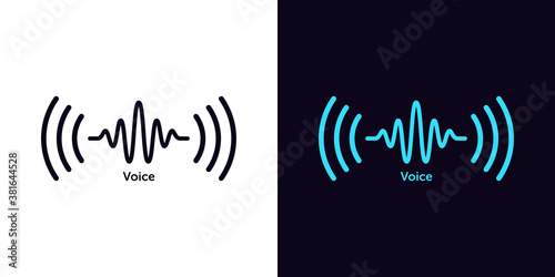 Canvas Print Sound wave icon for voice recognition in virtual assistant, speech signal