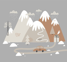Vector Illustration With Houses, Mountains, Trees, Clouds, Snow, House, And Car. Hand Drawn Winter Illustration In Scandinavian Style For Kids. For Textiles, Postcards, Baby Shower, Babywear, Nursery.