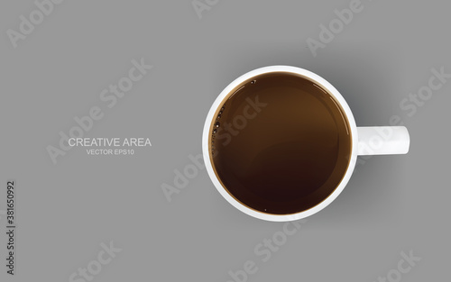 Fototapeta Top view of a cup of coffee on gray background. Vector.