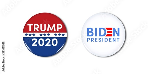 US Presidential Election. Trump. Biden. Campaign buttons. Patriotic stars. Vote. United States of America Election design.