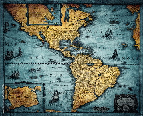 Old geographic map of South and North America. Concept on the theme of travel, adventure, geography, discovery, history. Map of the 18th century, time of geographical discoveries. Wall mural