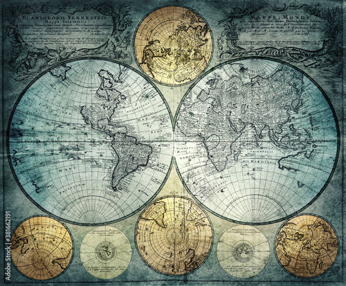 Fototapeta Old world map of the 18th century.  Concept on the theme of travel, adventure, geography, discovery, history. Pirate and nautical theme grunge background. obraz na płótnie