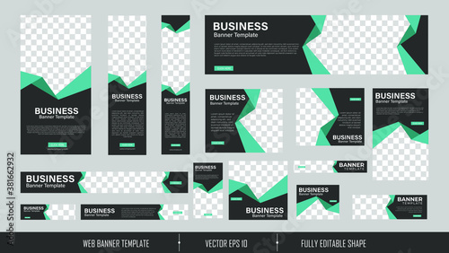 Fototapeta set of creative web banners of standard size with a place for photos. Vertical, horizontal and square template. vector illustration EPS 10 obraz