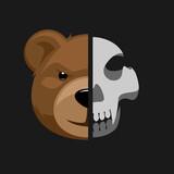 Cartoon toy bear head with skull