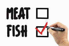 Choose Between Meat Or Fish With Checkbox. Doodle  On A Whiteboard, Written With Black And Red Marker In A Hand. Scribble Sketch Text On A Board