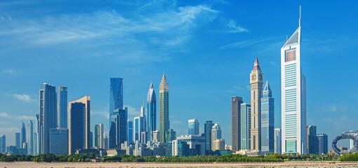 Dubai city - amazing city center skyline with luxury skyscrapers, United Arab Emirates