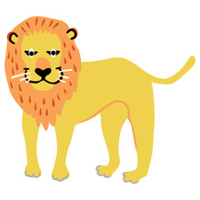 Cute Lion Animal Character In Cartoon Style. Wild Animal Illustration.