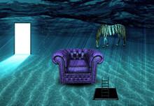 Surreal Underwater Scene. Stri...