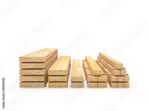 Photographie Wooden boards are stacked in stacks isolated on white background