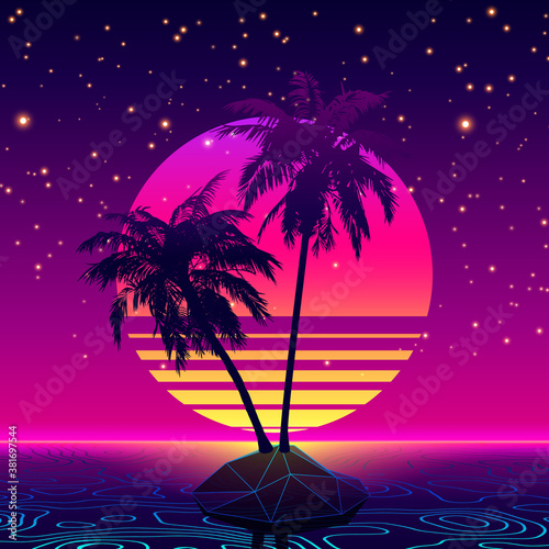 Retro Futuristic Background 1980s Style. Digital Palm Tree on a Lowpoly Cyber Island in Computer World. Retro Wave Music Album Cover Template with Sun, Palm, Island and Laser Waves Over Digital Ocean #381697544