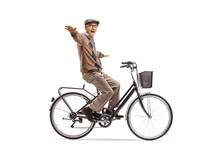 Happy Elderly Man Riding A Bicycle And Spreading Arms