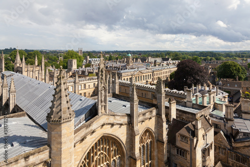 Fototapeta Oxford, UK 18/07/2019 Skyline from unusual view showing spires and roofs in sun obraz