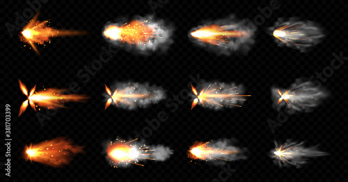 Obraz Gun flashes with smoke and fire sparkles. Pistol shots clouds, muzzle shotgun explosion. Blast motion, weapon bullets trails isolated on black background. Realistic 3d vector illustration, icons set - fototapety do salonu