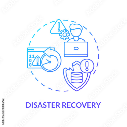 Valokuvatapetti Disaster recovery concept icon