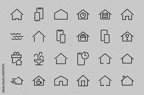 Fotografie, Obraz Simple set of color editable house icon templates