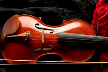 Close Up Of A Violin With Bow ...