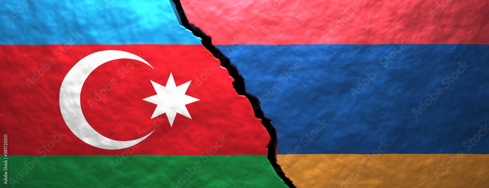 Azerbaijan and armenian flags on cracked wall background. 3d illustration