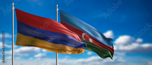 Armenian and Azerbaijan flags, blue sky background. 3d illustration
