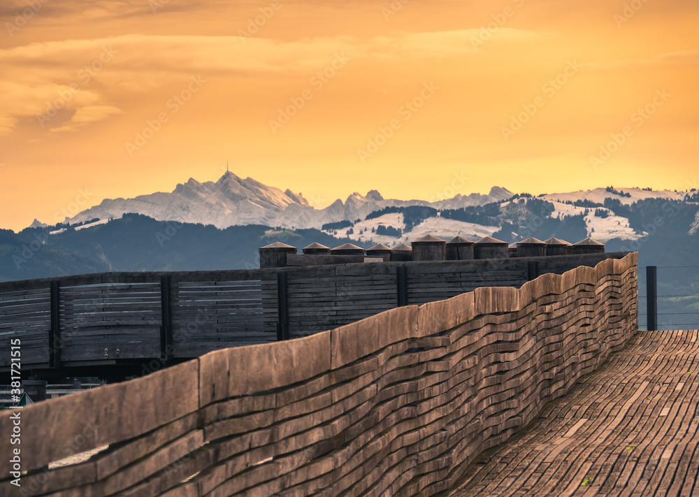 Fototapeta Sunset view of the Speer mountain in the Appenzell Alps, overlooking the region between Lake Zurich and Lake Walenstadt in the canton of St. Gallen, Switzerland