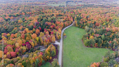 aerial view of a landscape in the country in fall Fototapet