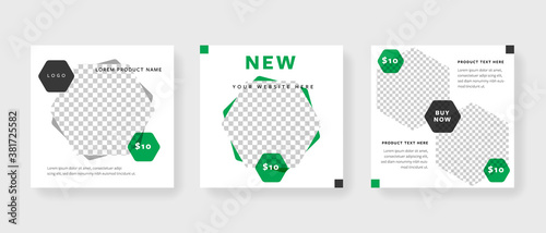 Fotografie, Obraz Instagram square post templates with hexagon element and green accent
