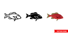 Red Snapper Fish Icon Of 3 Typ...