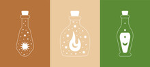 Modern Boho Doodle Logos. Set Of Magic Simple Hand Drawn Icons With Sun Moon Potion Bottle. Abstract Vector Illustration
