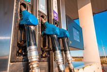 Blue Fuel Nozzle In Gas Statio...