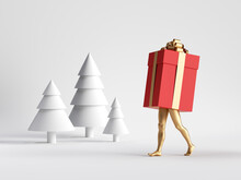 3d Render. Red Christmas Gift Box Cartoon Character With Golden Mannequin Legs Walks In Winter Forest. Minimal Seasonal Clip Art Isolated On White Background. Unique Toy
