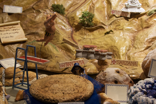 Obraz na plátně nice showcase of a pastry shop with typical Ligurian products in the gulf of poe