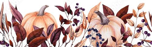 Fotografía Seamless Border of Watercolor Pumpkins, Berries and Leaves