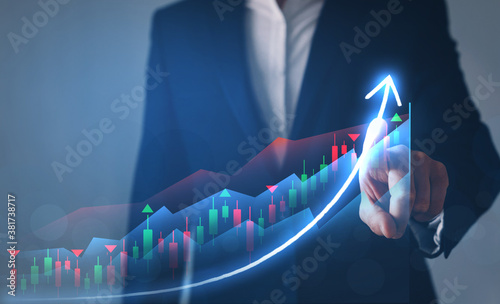 Businessman finger pointing arrow graph Fototapet