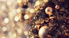 Banner Dark Decorated Christmas Tree Pine On Blurred Background Bokeh Light