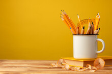 Metal Cup With Sharp Pencils A...