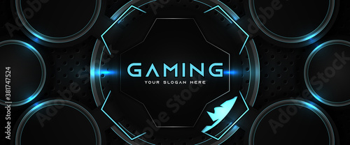 Fotografia Futuristic blue and black abstract gaming banner design template with metal technology concept