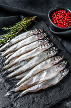 Raw Small Fish Anchovies With ...