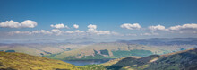 Mountains Of Scotland Panorama View. Ben Lawers Range And Loch Earn - View From Summit Of Ben Vorlich.