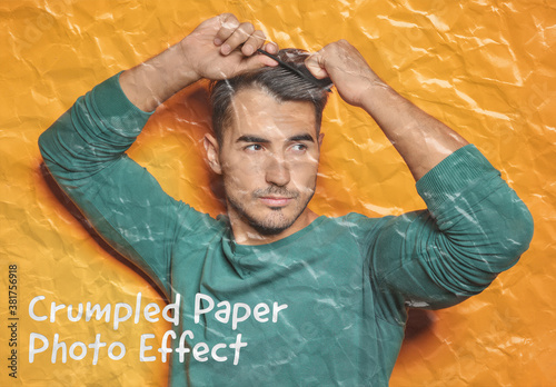 Crumpled Paper Photo Effect Mockup