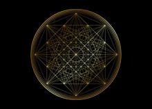 Gold Line Drawing Mandala, Sac...
