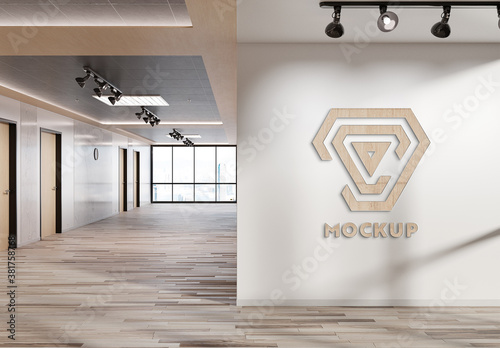 Logo on Office Wall Mockup