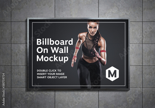 Billboard on Underground Wall Mockup