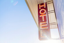 Vintage Hotel Sign With Sun Flare