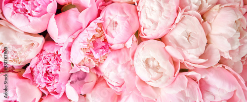 Floral carpet or Wallpaper. Beautiful Pink peony flower for catalog or online store. Floral shop concept . Beautiful fresh cut bouquet. Flowers delivery