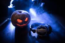 Halloween Pumpkin On A Dj Tabl...