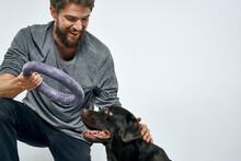 Man With Dog Training Gray Rin...