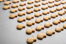 Delicious Goldfish Crackers On Grey Table, Closeup