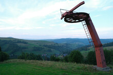 Abandoned Old Ski Lifting Construction In Mountains