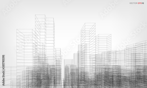 Tablou Canvas Wireframe city background